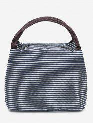 Striped Shape Portable Lunch Tote Bag -