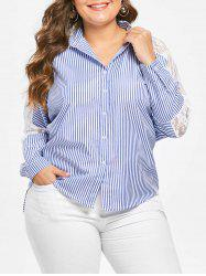 Plus Size Lace Panel Striped Asymmetric Shirt -