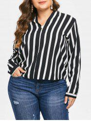 Plus Size High Low Contrast Striped Blouse -