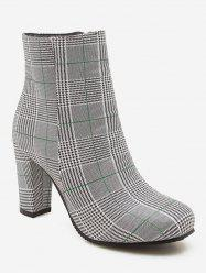 Plus Size Chunky Heels Plaid Pattern Ankle Boots -