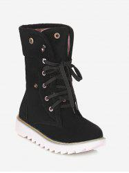 Plus Size Button Embellished Lace Up Boots -