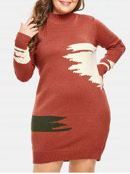 Plus Size High Neck Graphic Sweater Dress -