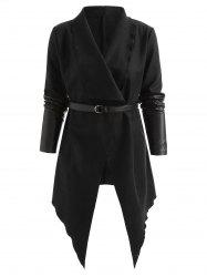 Contrast Colo Asymmetrical Belted Long Coat -