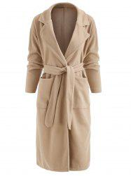 Lapel Neck Belted Long Coat with Pockets -