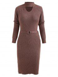 Cut Out Belted Mid Knitwear Dress -