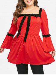 Plus Size Bowknot Long Sleeves Contrast Tunic Top -