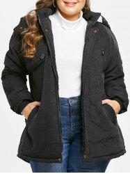 Zip Embellished Plus Size Hooded Coat -