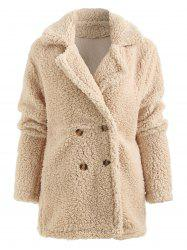 Lapel Collar Faux Fur Coat with Pocket -