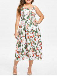 Plus Size Christmas Santa Claus Print Flare Dress -