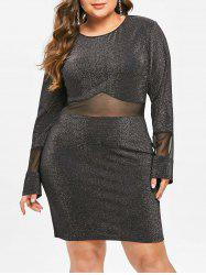 Mesh Panel Plus Size Shining Knee Length Dress -
