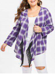 Plus Size Open Front Plaid Coat with Fringed -