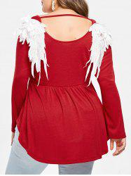 Plus Size Cutout Embroidered Wings Peplum Tee -