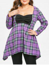 Plus Size Sweetheart Neck Plaid Longline Tee -