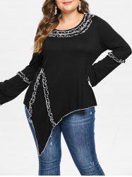Plus Size Contrast Trim Asymmetrical Tee -