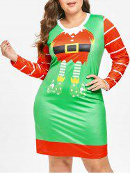 Plus Size Christmas Santa Claus Tee Dress -