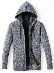 Winter Padded Zip Up Knitted Casual Hooded Jacket -