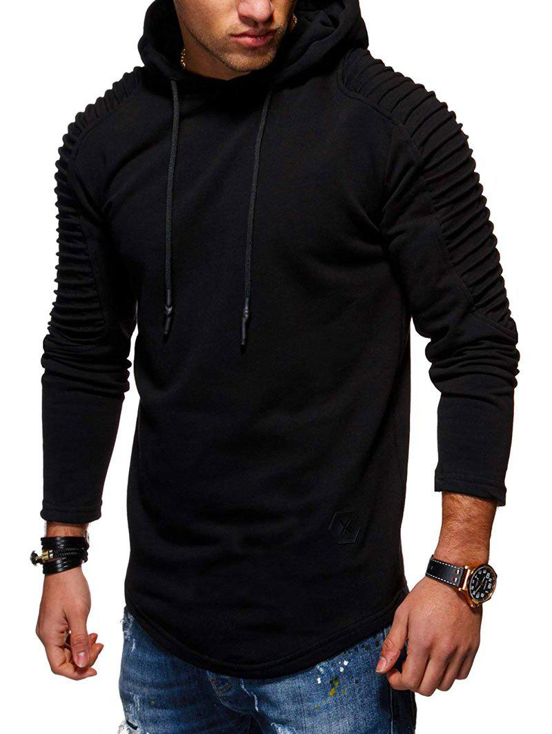 Trendy Solid Pleated Sleeve Hem Curved Long Fleece Hoodie