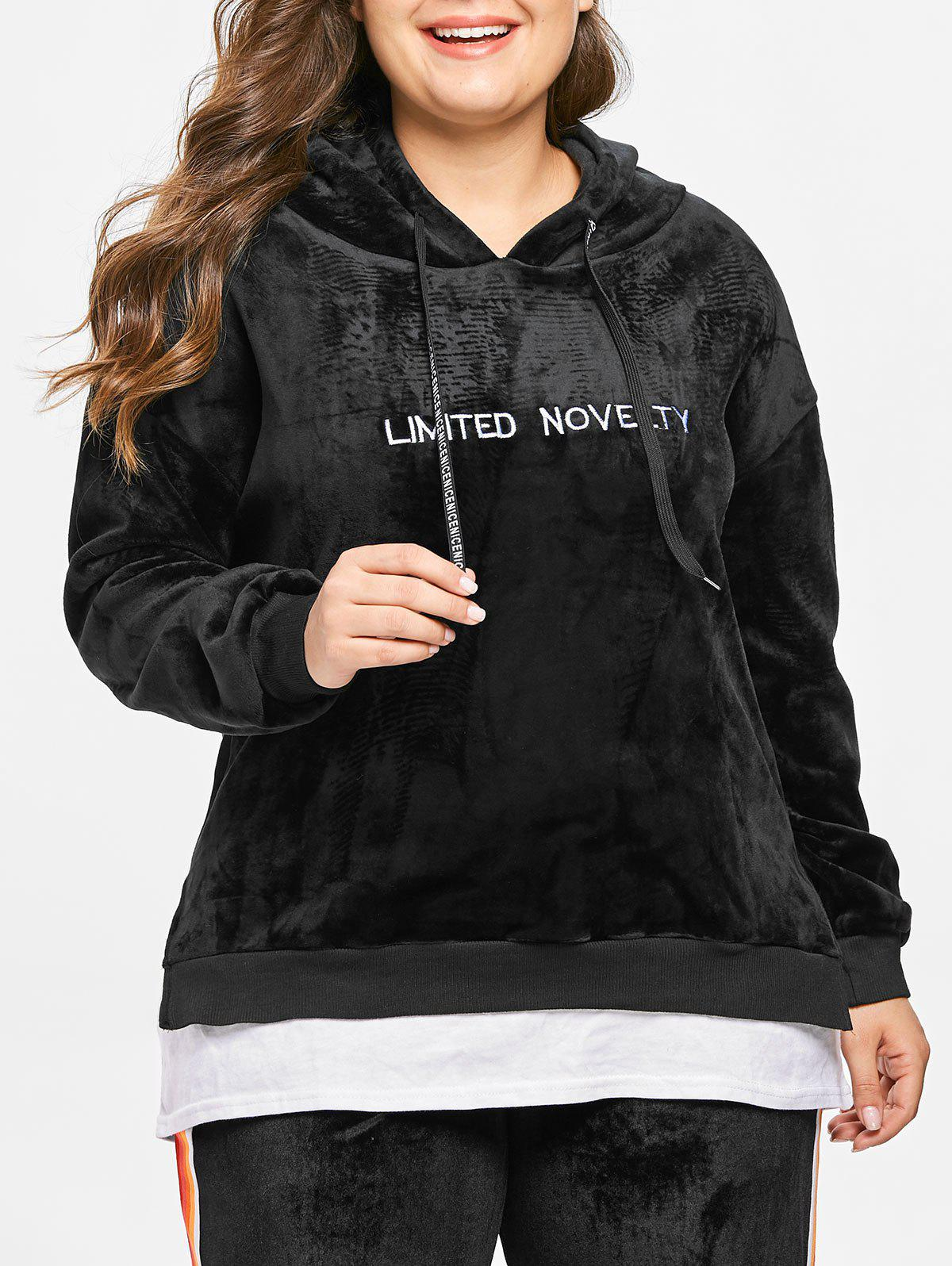 Best Plus Size Two Tone Embroidered Velvet Hoodie