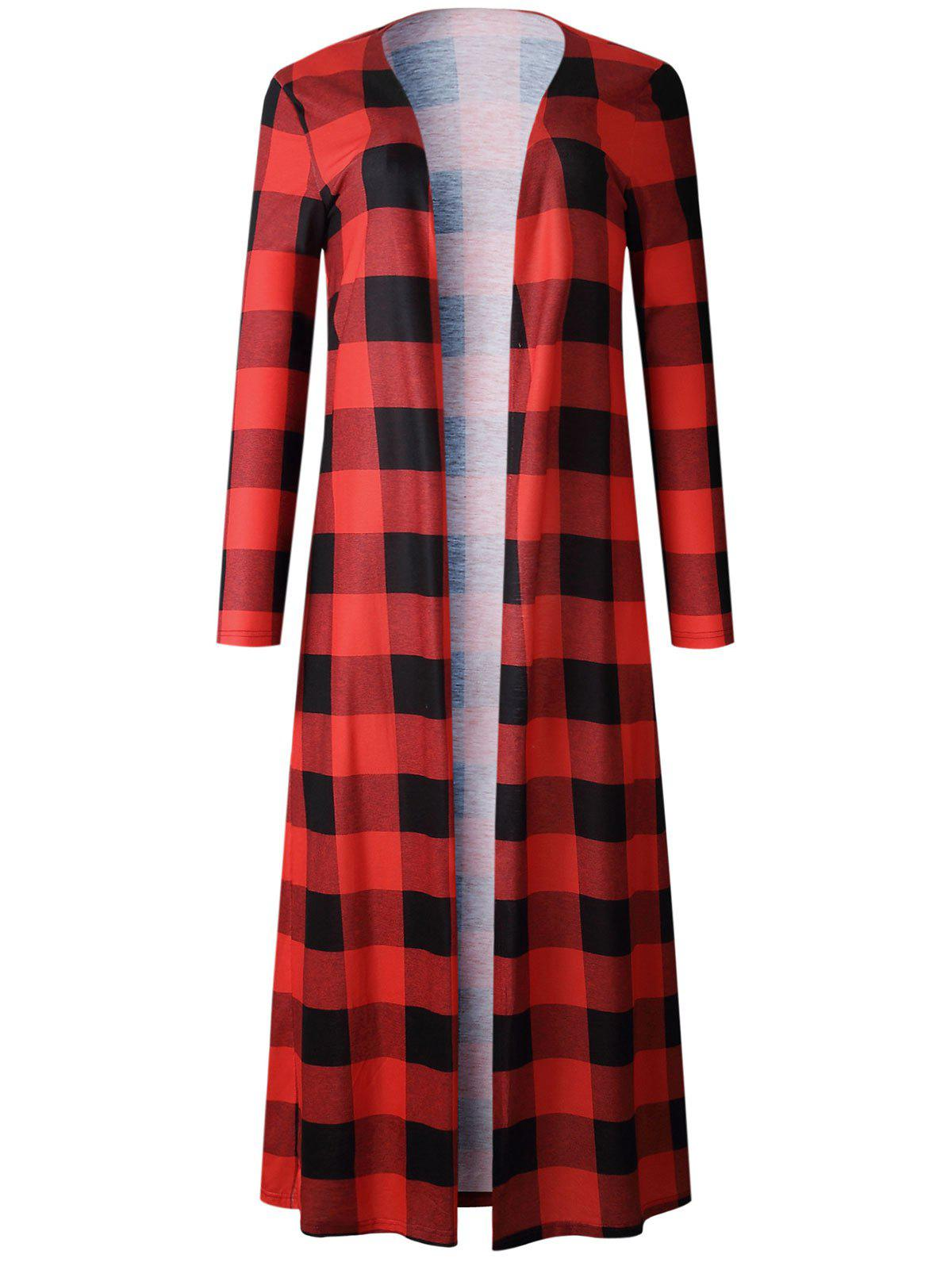 Outfit Plaid Open Front Maxi Coat