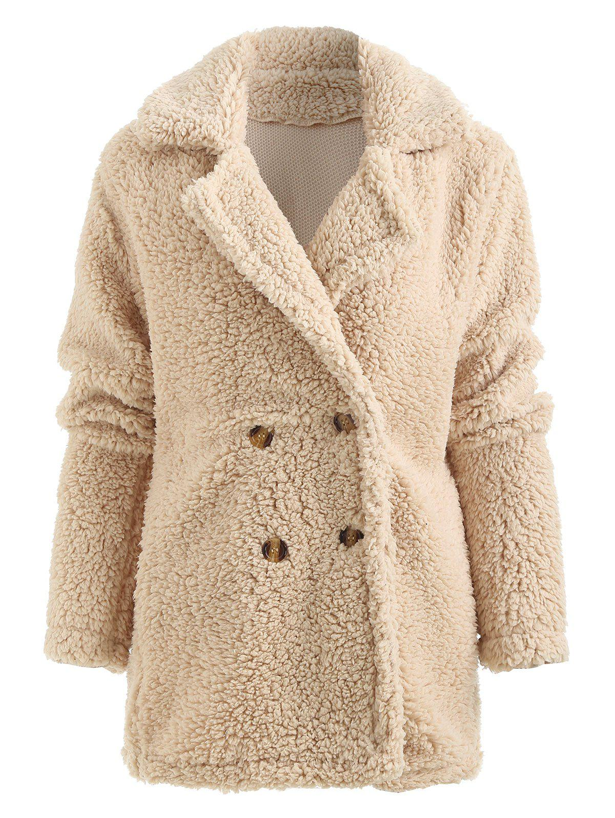 Online Lapel Collar Faux Fur Coat with Pocket