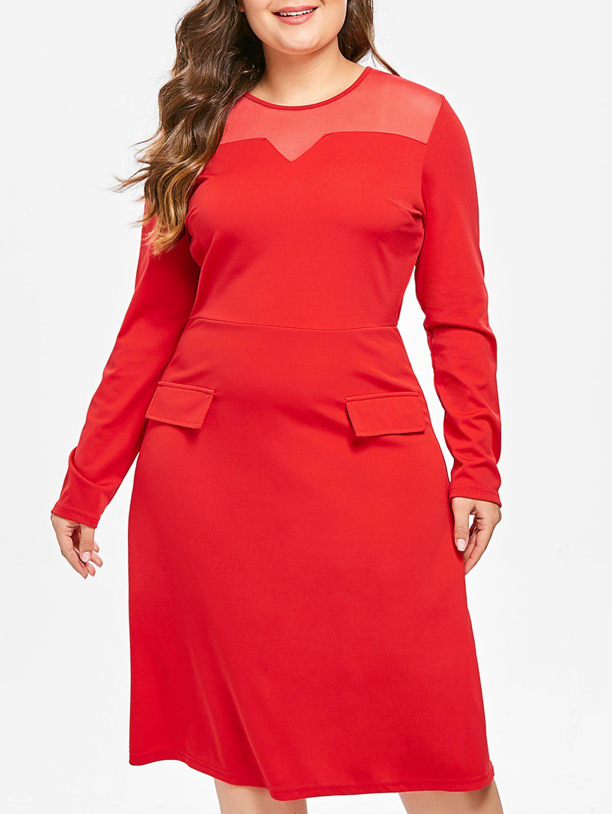 Chic Plus Size Mesh Panel Midi Flare Dress