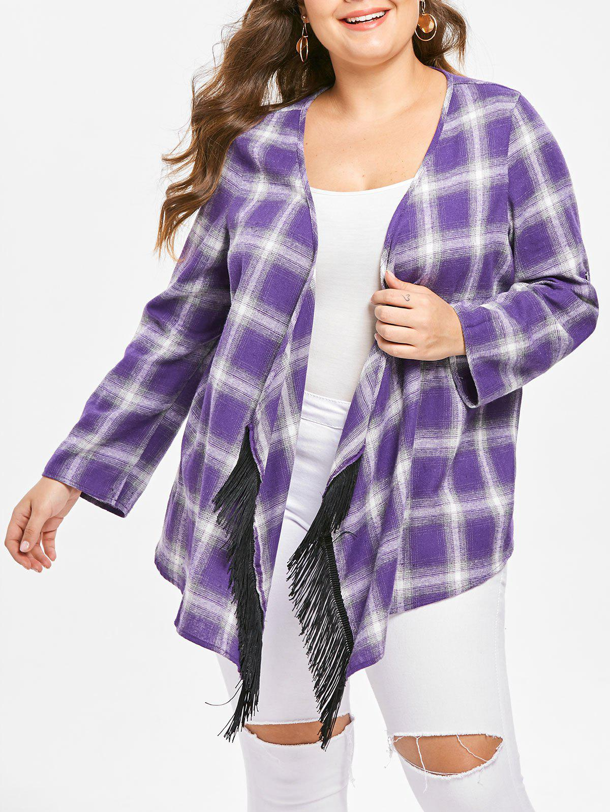 Chic Plus Size Open Front Plaid Coat with Fringed