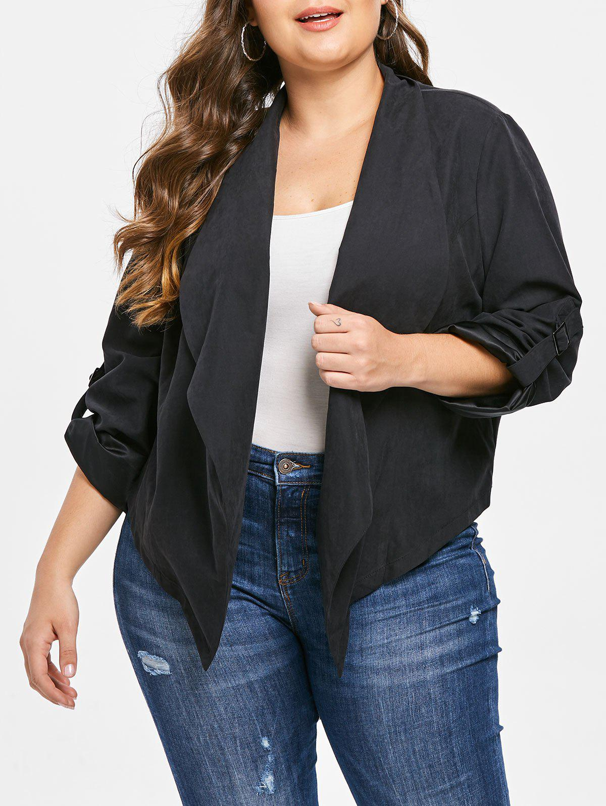 Trendy Plus Size Solid Color Open Front Jacket