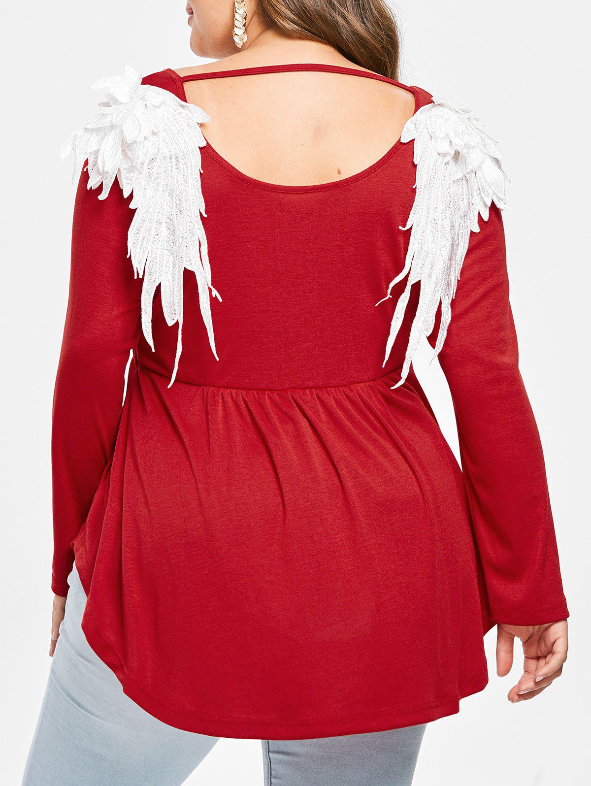 Online Plus Size Cutout Embroidered Wings Peplum Tee