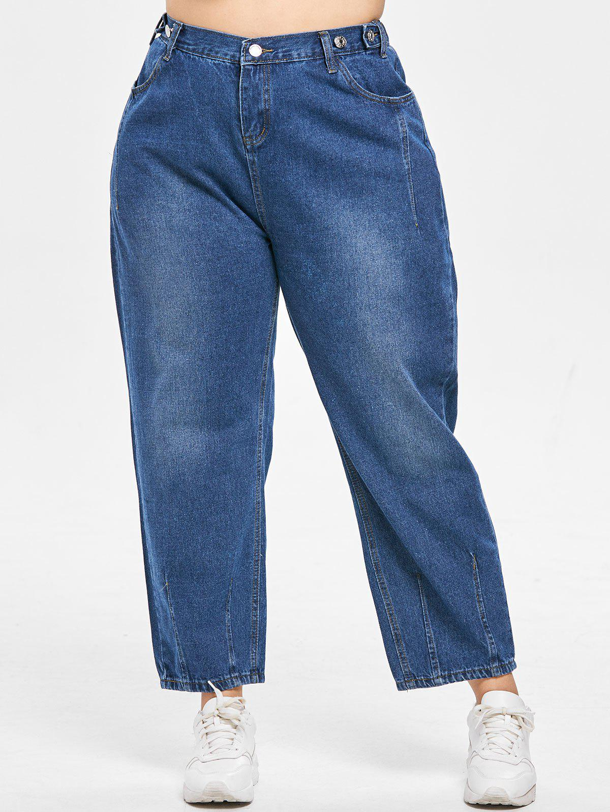 Affordable Plus Size Zipper Fly Wide Leg Jeans