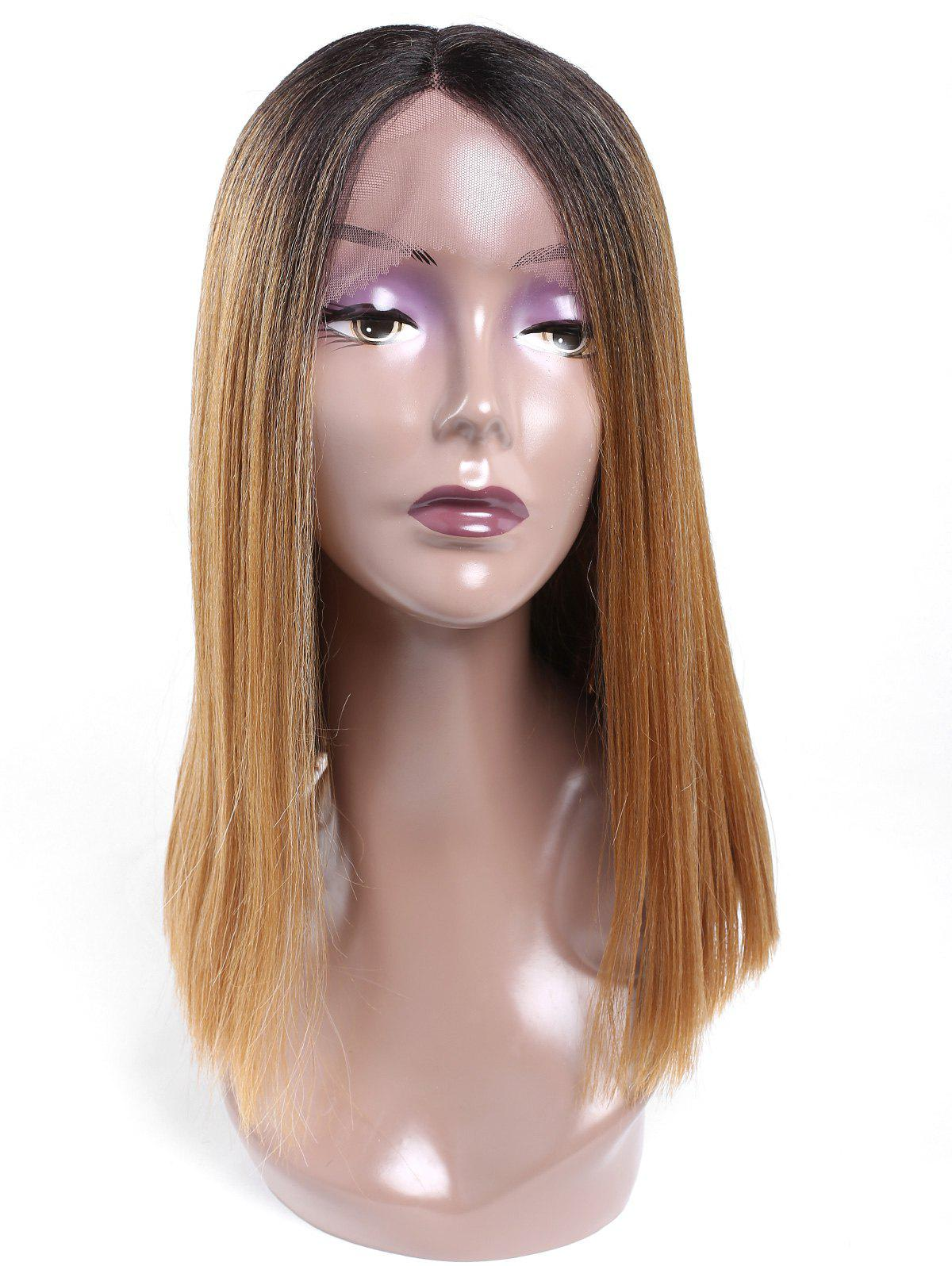 Fashion Medium Center Parting Blunt Lob Straight Lace Front Synthetic Wig