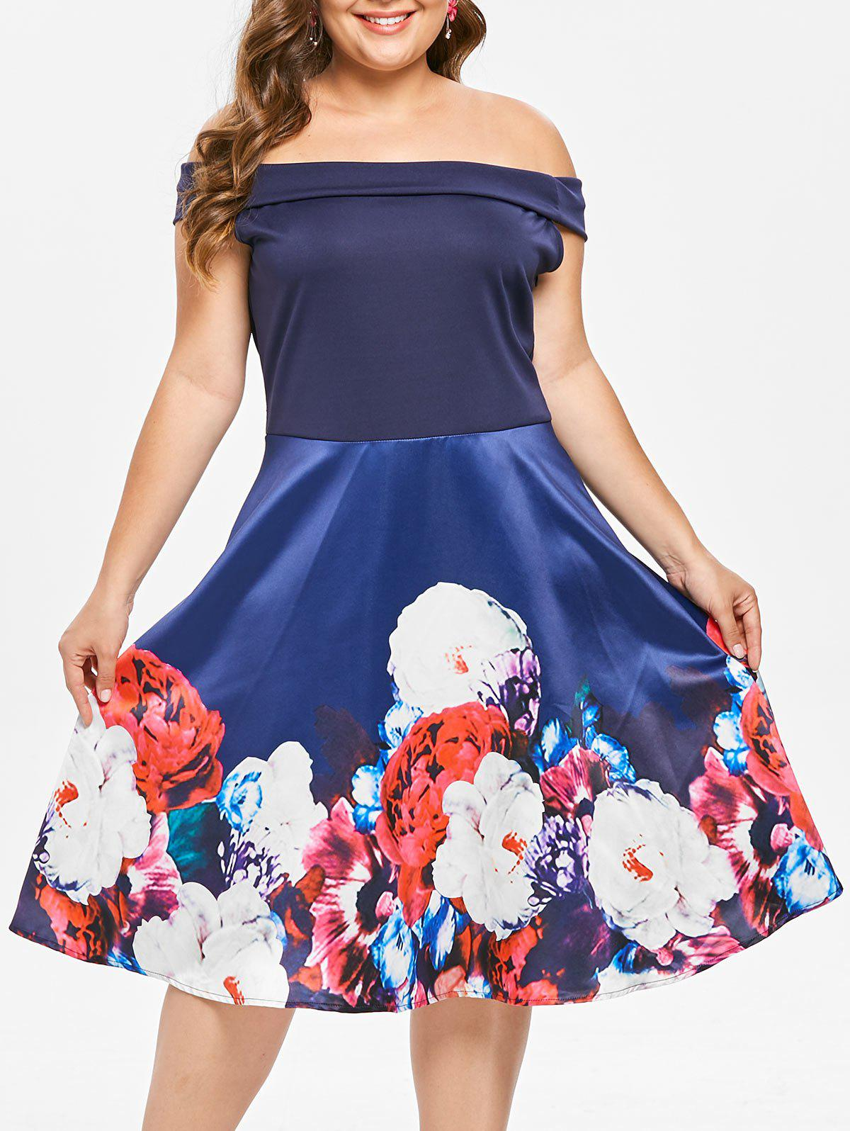 Fashion Plus Size Off The Shoulder Floral Print Pin Up Dress