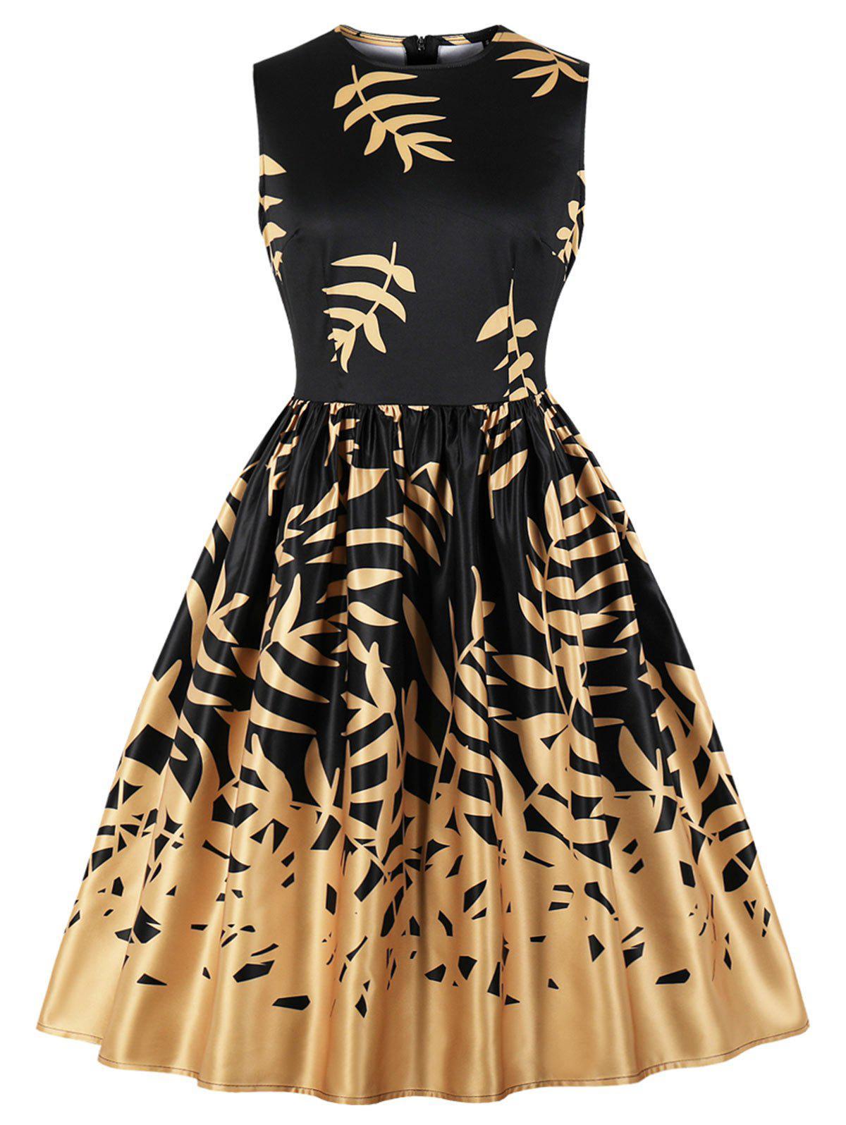 Outfit Vintage Leaves Print Fit and Flare Dress