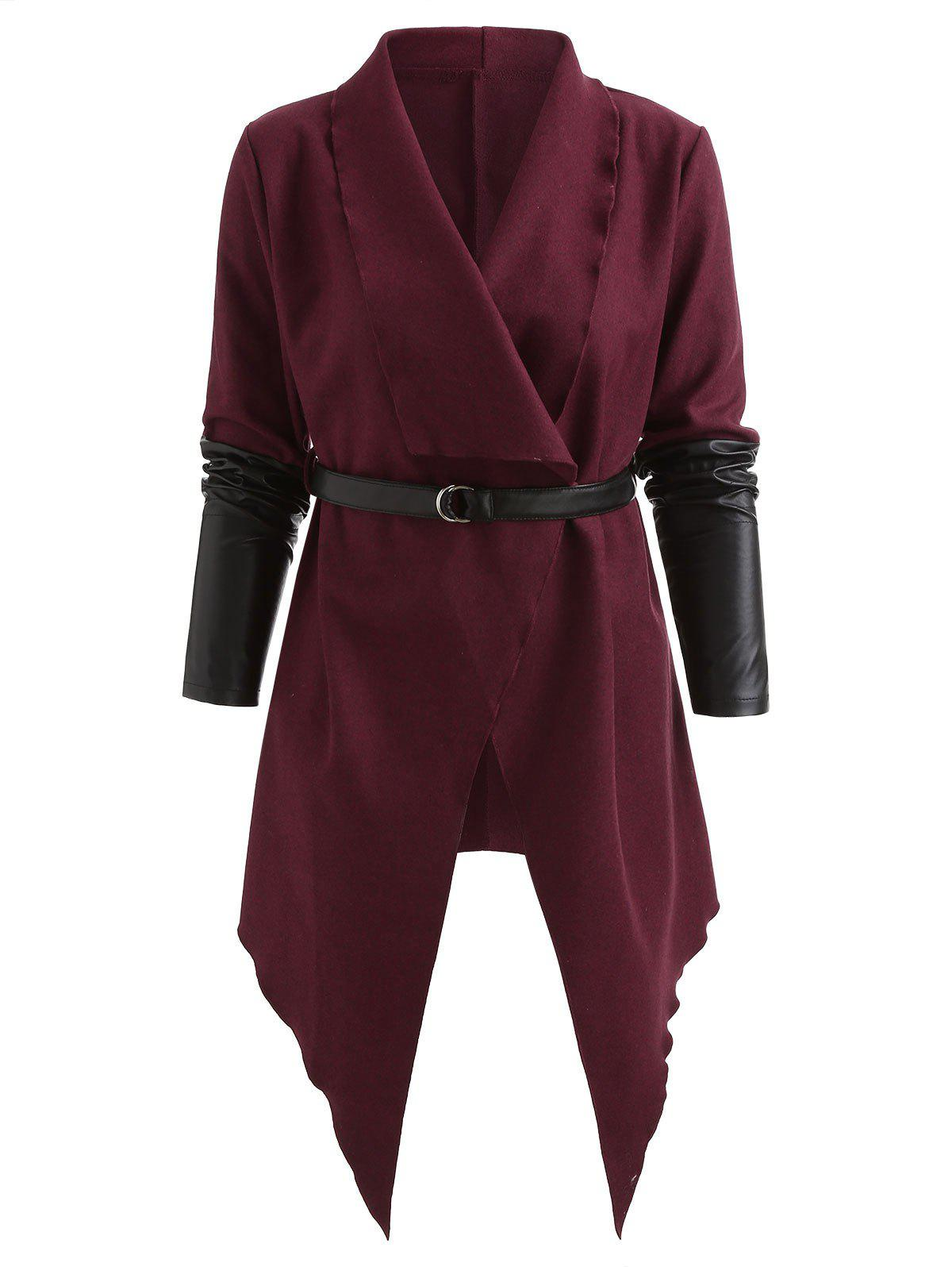 Affordable Contrast Colo Asymmetrical Belted Long Coat