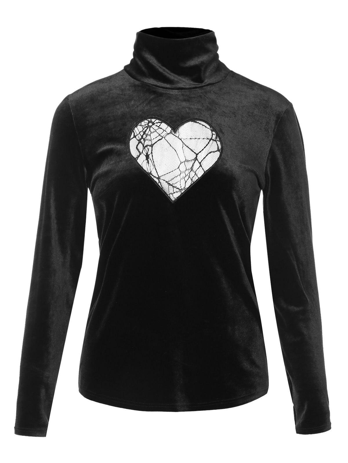 Shops Turtleneck Heart Mesh Design Velvet Top