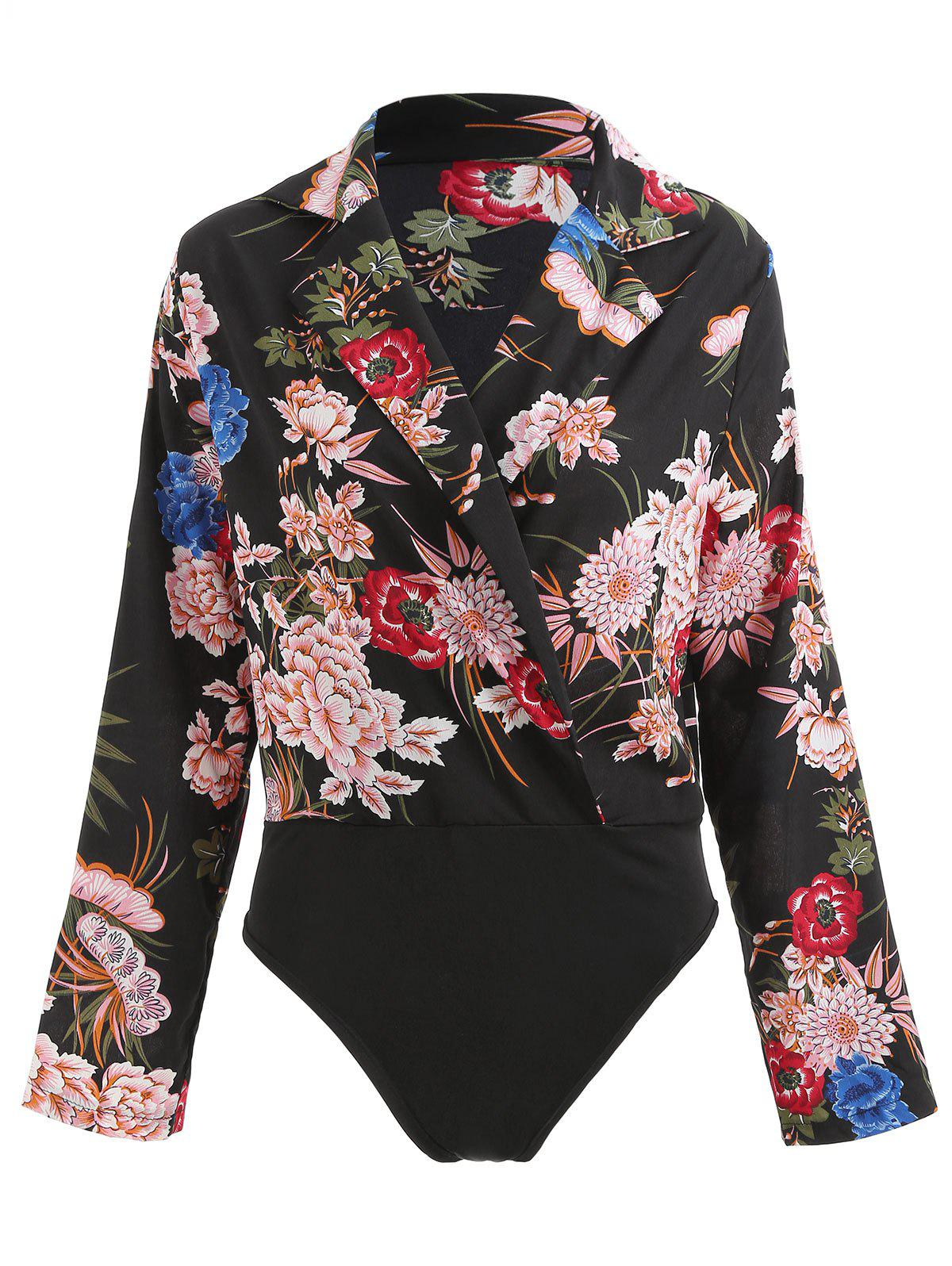 Latest Floral Print Surplice Bodysuit