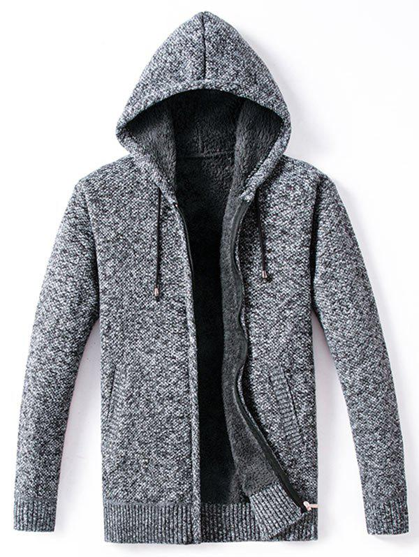 Sale Winter Padded Zip Up Knitted Casual Hooded Jacket