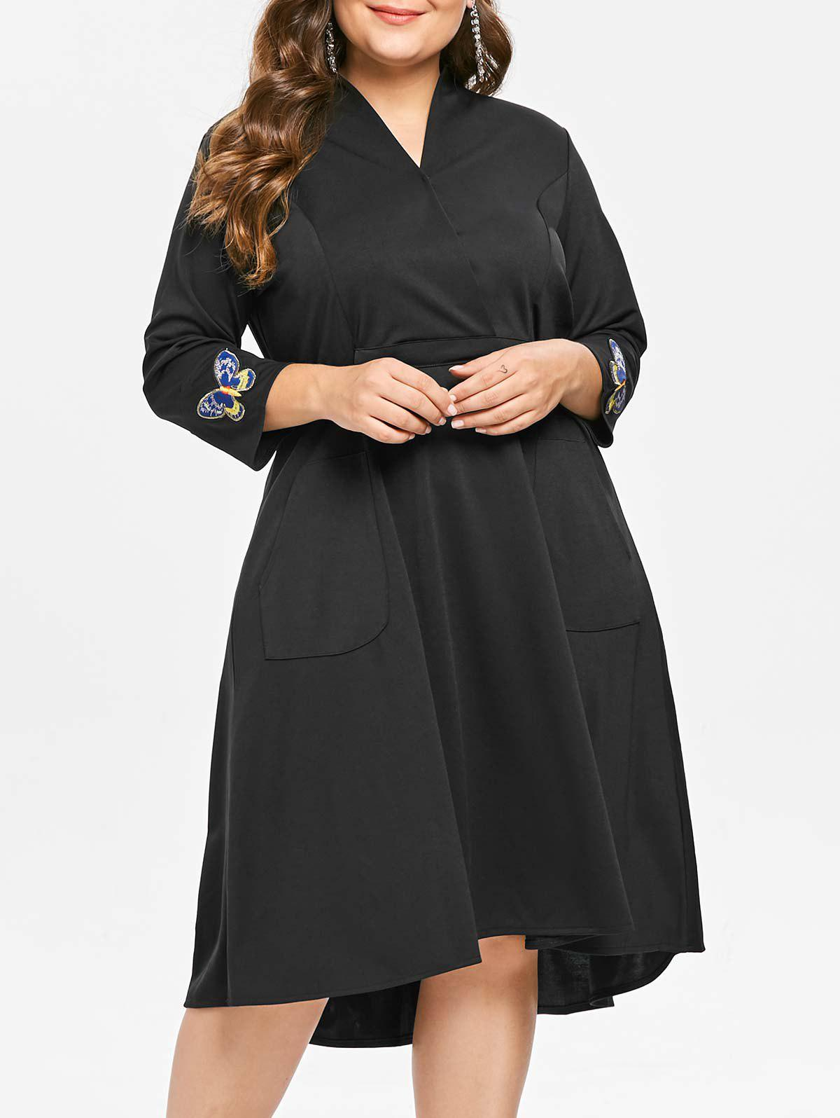 Trendy Plus Size High Low Embroidered V Neck Dress