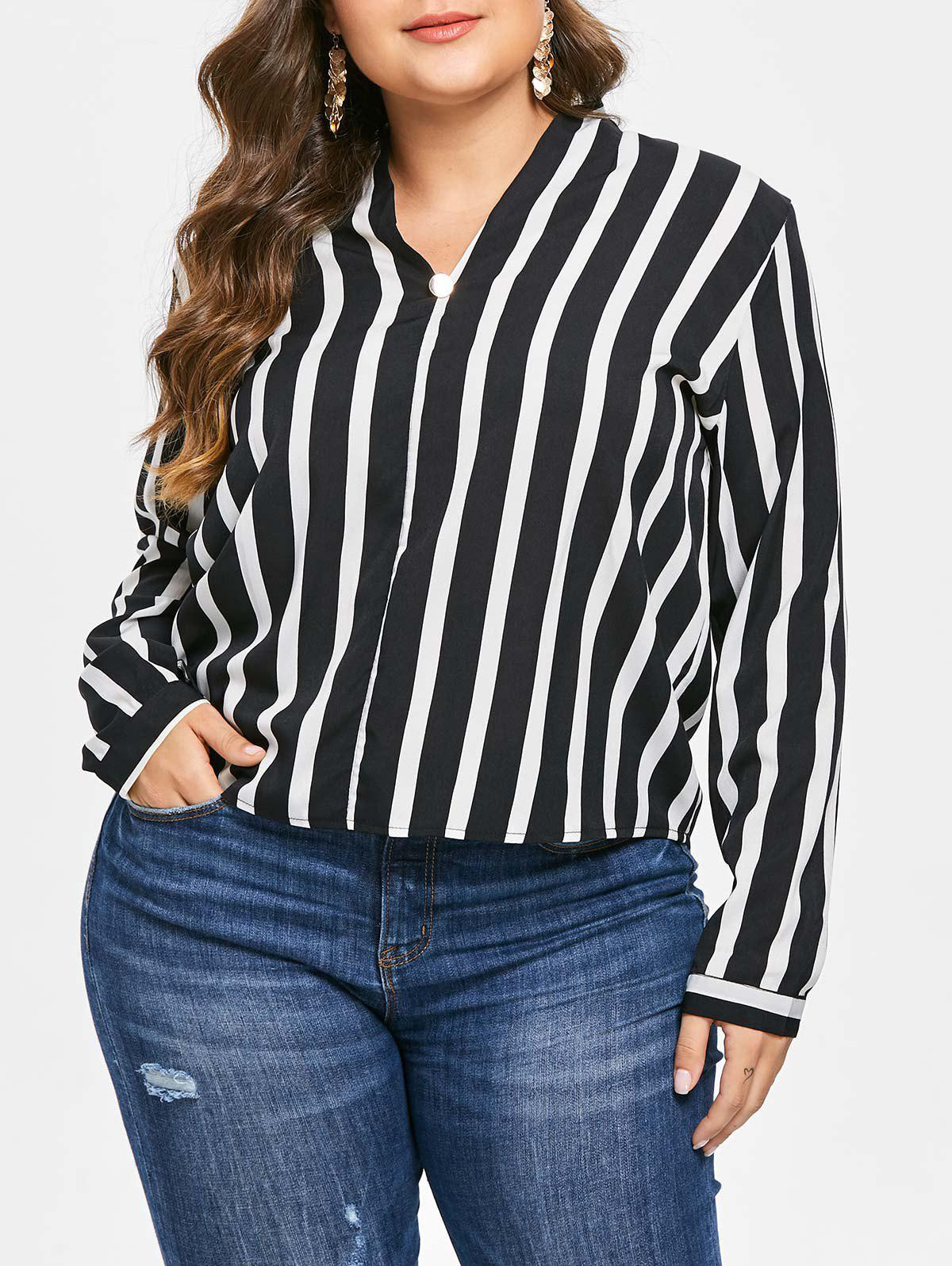 Unique Plus Size High Low Contrast Striped Blouse