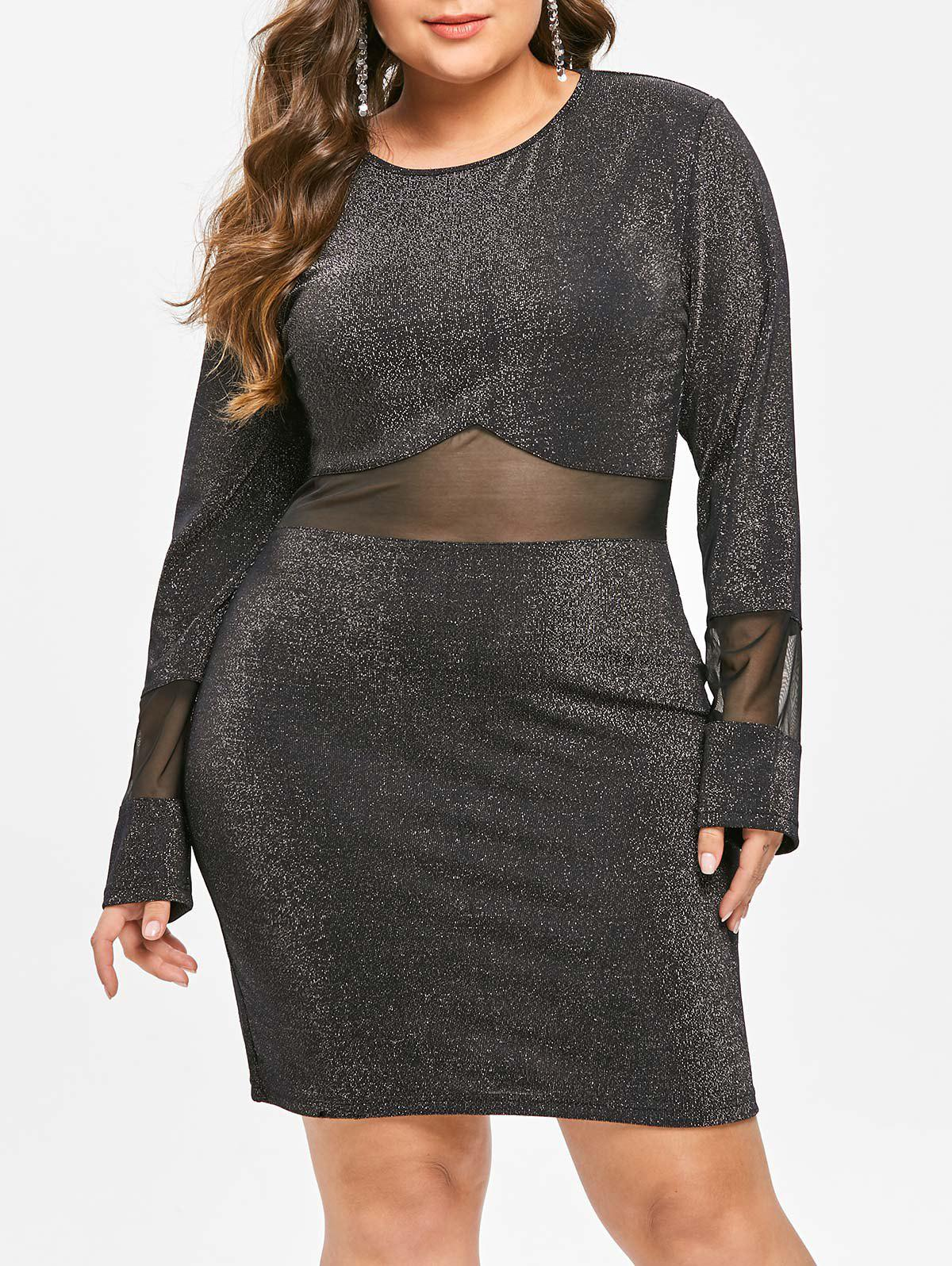Online Mesh Panel Plus Size Shining Knee Length Dress