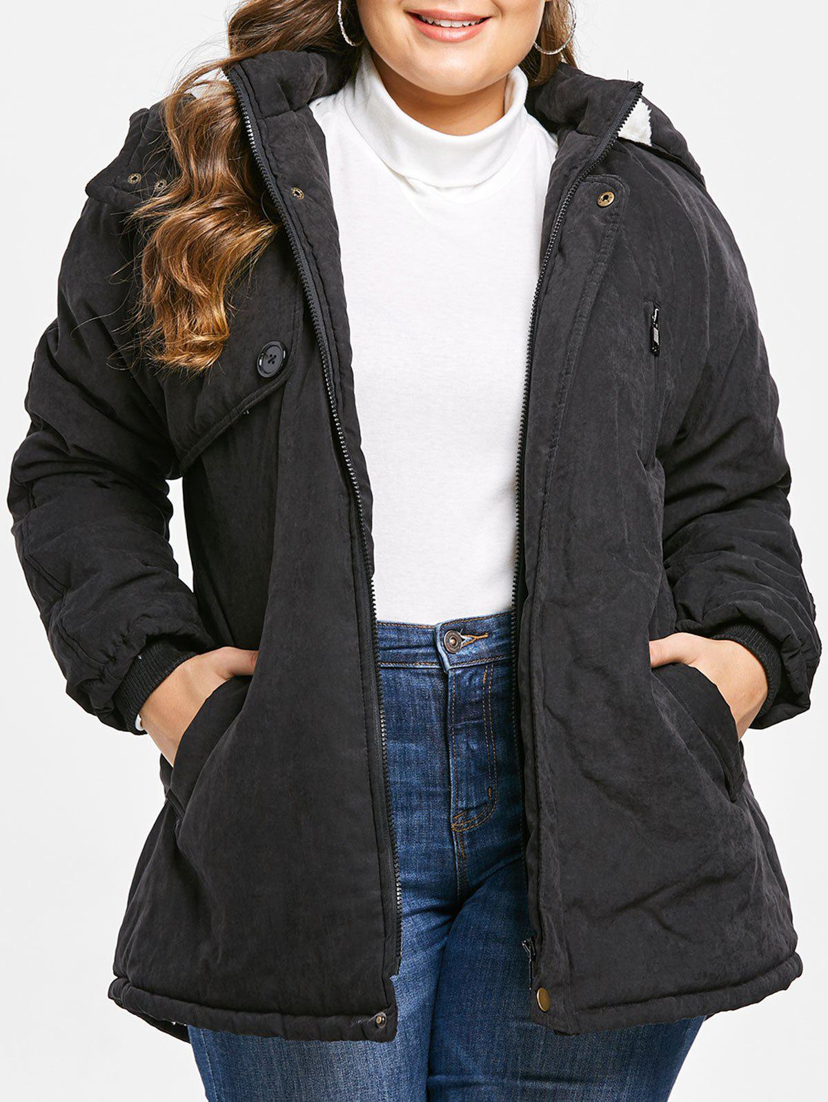 Unique Zip Embellished Plus Size Hooded Coat