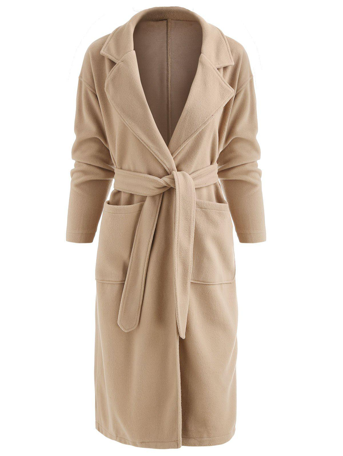 Fancy Lapel Neck Belted Long Coat with Pockets
