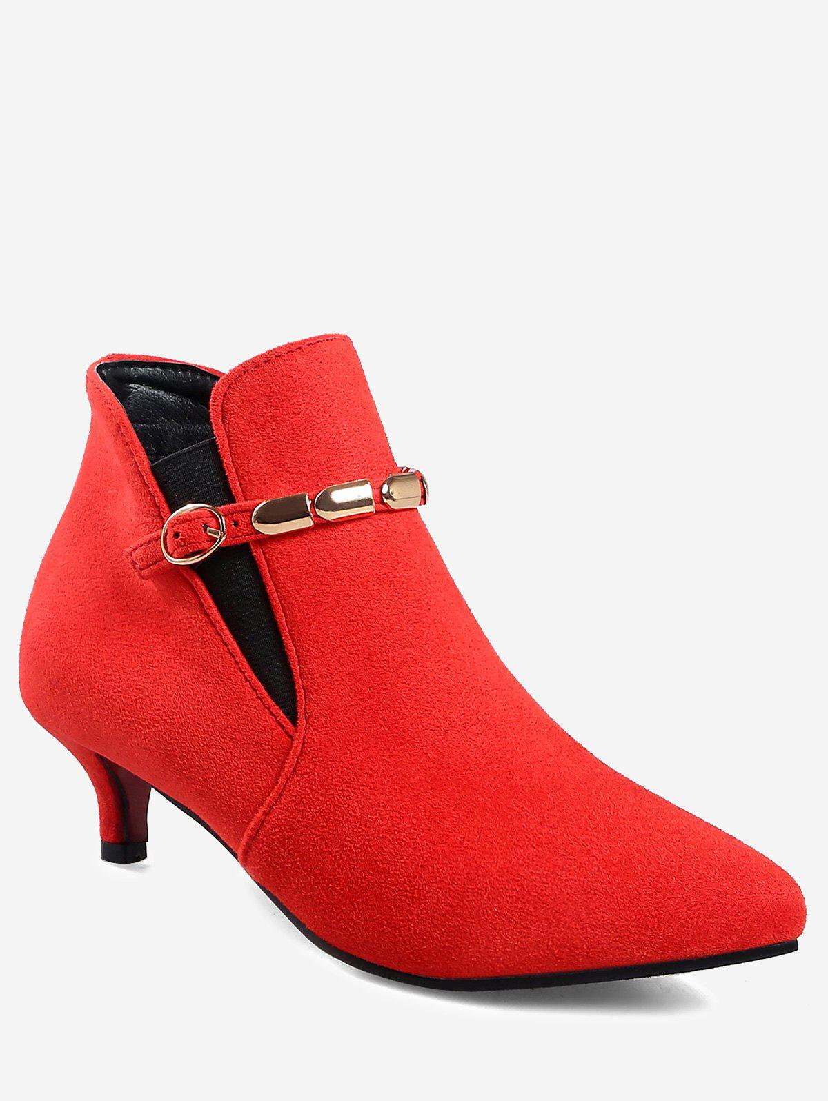 Store Plus Size Pointed Toe Ankle Strap Boots
