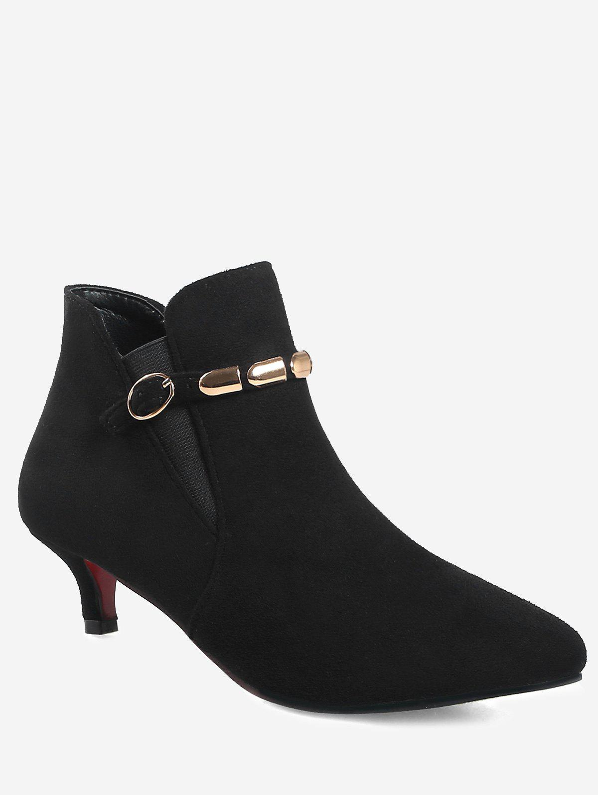 Unique Plus Size Pointed Toe Ankle Strap Boots