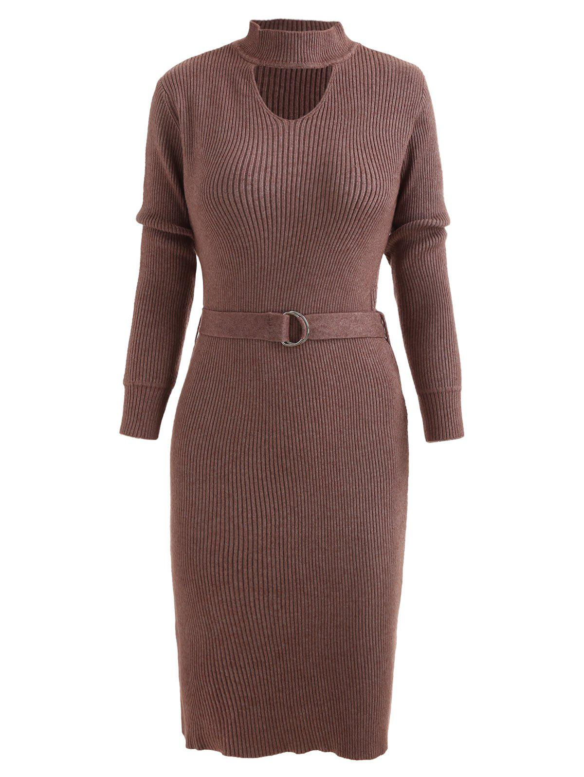 Store Cut Out Belted Mid Knitwear Dress
