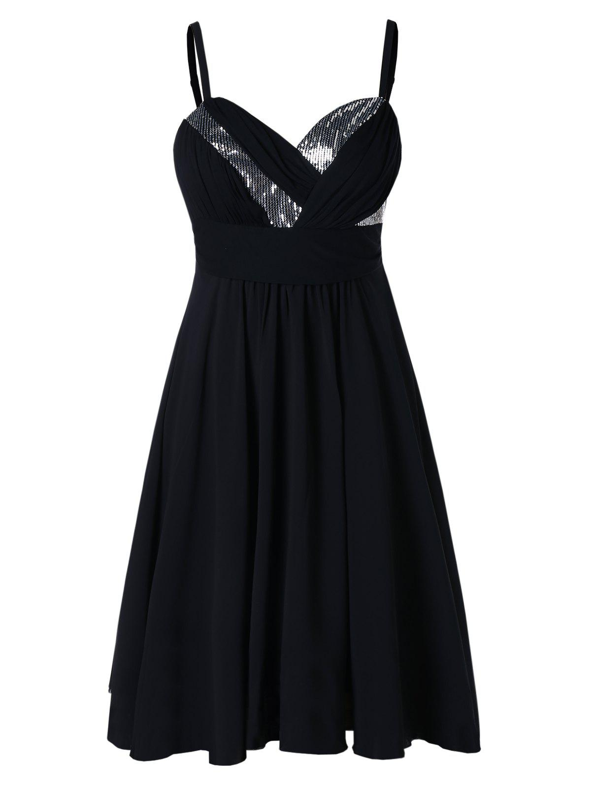 Trendy Spaghetti Strap Plus Size Sequin Embellished A Line Dress