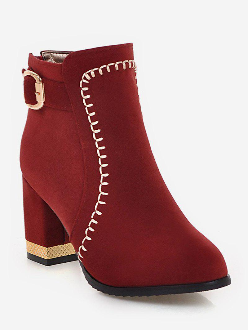 Shop Plus Size Belt Buckle Chunky Heel Boots