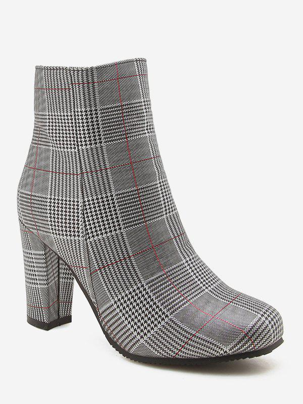 Shop Plus Size Chunky Heels Plaid Pattern Ankle Boots