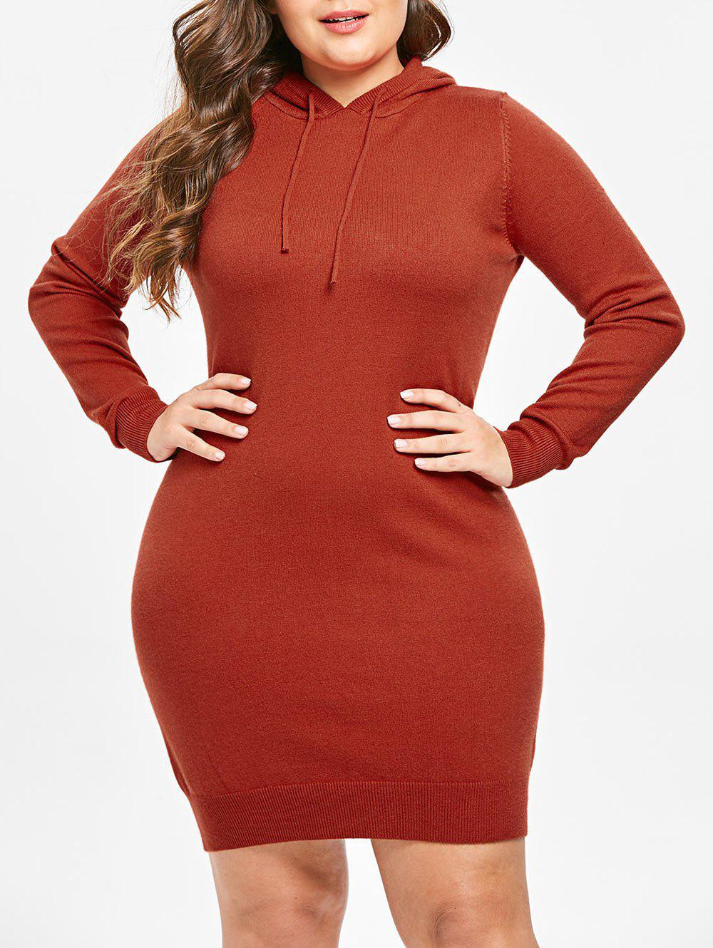 Plus Size Long Sleeves Hooded Sweater Dress