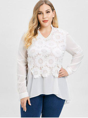 Plus Size Lace Splicing Long Sleeves High Low Blouse