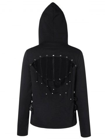 Strappy Cut Back Zip Up Hoodie